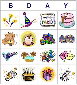 birthday printable bingo card