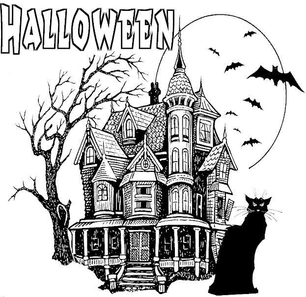 Haunted Halloween Castle . . . Coloring Page for Kids!