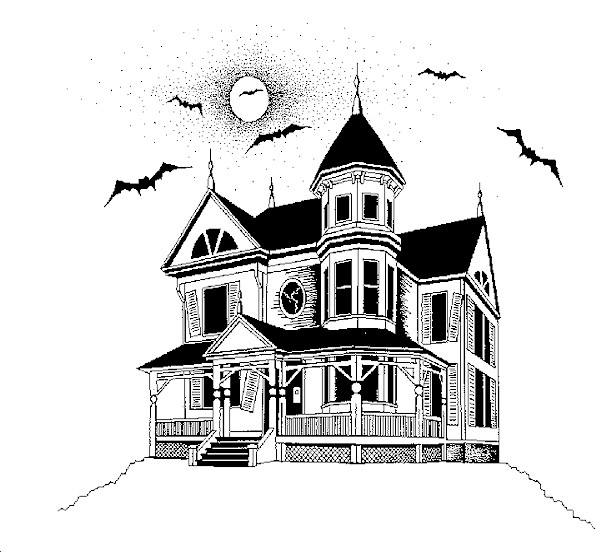 Free Halloween Haunted Houses Coloring Pages
