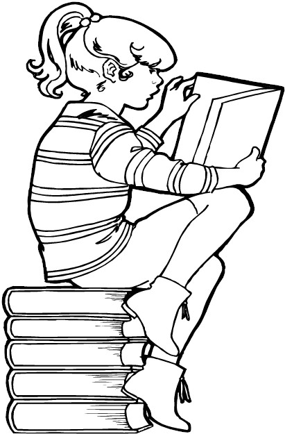 coloring pages of kids reading - photo#14