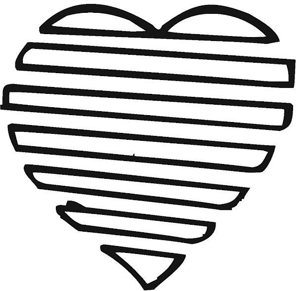 Joined Hearts Valentine Picture to Color - Clip Art, Coloring