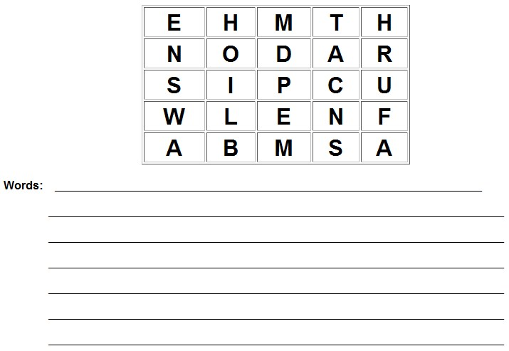 printable boggle puzzle